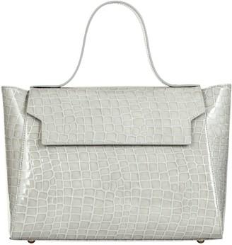Cara The Top Handle Tote Leather Bag Light Grey Mock Croc