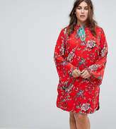 Glamorous Curve Long Sleeve Shift Dress With High Collar In Romantic Floral