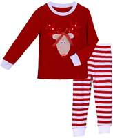 Pettigirl Girls 2 Piece Clothing Set Reindeer Striped Pajamas 7 Years