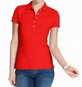 Tommy Hilfiger Womens Pique Signature Polo Top