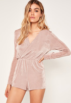 Missguided Petite Pink Slinky Wrap Playsuit