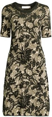 Tory Burch Floral Lurex Fit-&-Flare Dress