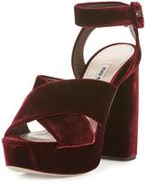 Miu Miu Velvet Crisscross 125mm Sandal, Bordeaux