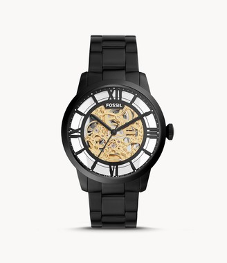 Fossil 44Mm Townsman Automatic Black Stainless Steel Watch