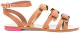 Sophia Webster Leather Samara Flat Sandals in Neutrals.