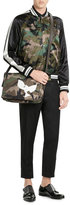 Valentino Camouflage Printed Messenger Bag with Leather