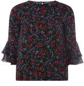 Dorothy Perkins Black Ditsy Print Ruffle Sleeve Top