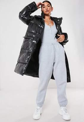 Missguided Black High Shine Oversized Puffer Jacket