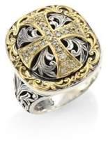 Konstantino Diamond Cross Silver & 18K Gold Ring