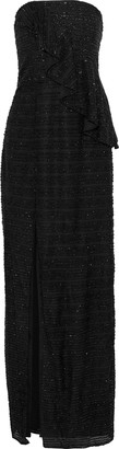Halston Strapless Crochet-trimmed Tinsel Peplum Gown