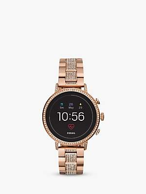 Fossil Q FTW6011 Women's Venture Crystal Bracelet Strap Touch Screen Smartwatch, Rose Gold