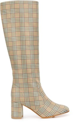 Maryam Nassir Zadeh Plaid Patterned Knee-High Boots