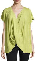 Natori Draped Short-Sleeve Ribbed Sweater, Key Lime
