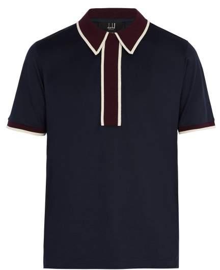Dunhill Contrast Panel Cotton Polo Shirt - Mens - Navy Multi
