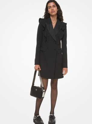 Michael Kors Double Crepe-Sable and Satin Ruffle Coat Dress
