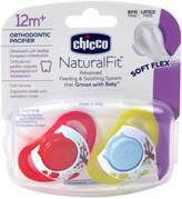 Chicco 572500 Neutral Deco Shield Pacifier for 12 Month Plus Babies(2 Pack), Red, Yellow