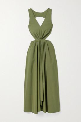 Deveaux Madelyn Cutout Cotton-poplin Dress - Green