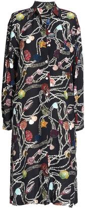 AILANTO Pearls & Shells Black Shirt Dress