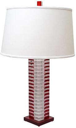 One Kings Lane Vintage Stacked Red & White Lucite Table Lamp - Galleria d'Epoca
