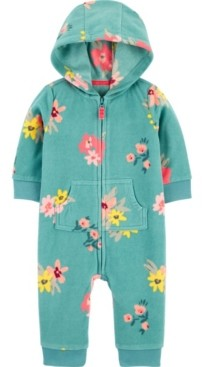 Carter's Baby Girl 1Pc. Floral Zip-Up Fleece Coveralls