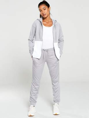 adidas Linear Hooded Tracksuit - Grey/White