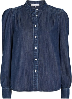 Frame Charlie Puff Sleeve Denim Button-Down