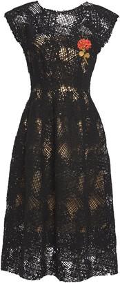 Oscar de la Renta Appliqued Linen-blend Macrame Midi Dress