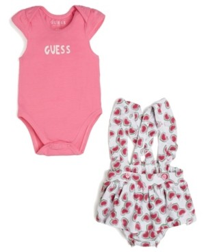 GUESS Girls Short Sleeve Bodysuit & Overall Skort Set