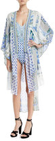 Camilla Open-Front Beaded Silk Kimono Coverup