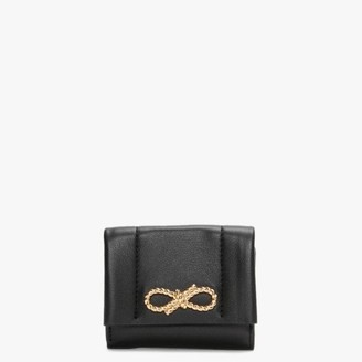 Anya Hindmarch Mini Rope Bow Trifold Black Wallet