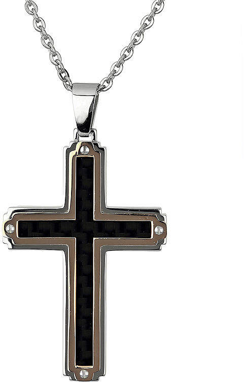 JCPenney FINE JEWELRY Mens Stainless Steel & Rose-Tone IP Cross Pendant Necklace