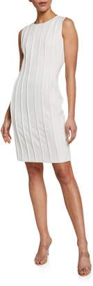 Donna Karan Crepe Sheath Dress With Satin Piping
