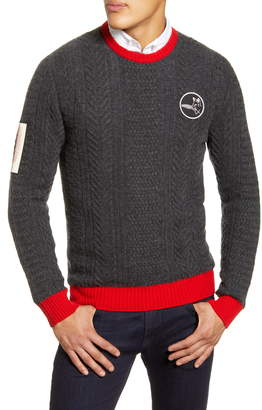 Billy Reid Logo Patch Cable Knit Cashmere Sweater