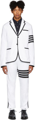 Thom Browne White Classic Loopback 4-Bar Suit