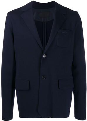 Prada single breasted embroidered blazer