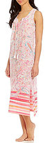 Lauren Ralph Lauren Paisley & Striped Gauze Racerback Maxi Lounge Dress