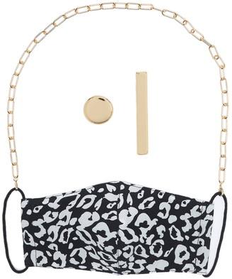 Panacea Gold Chain Leopard Print Face Mask & Stud Earrings 2-Piece Set