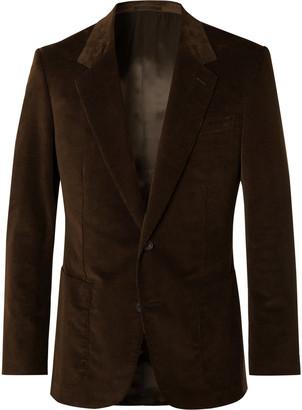 Kingsman Brown Slim-Fit Cotton-Blend Corduroy Suit Jacket