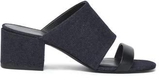 3.1 Phillip Lim Cube Leather-trimmed Denim Mules
