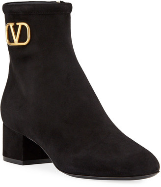 Valentino Garavani V Logo Suede Ankle Booties