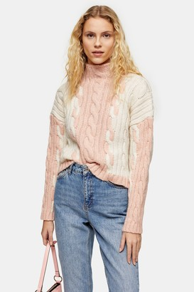 Topshop Knitted Color Block Plait Sweater
