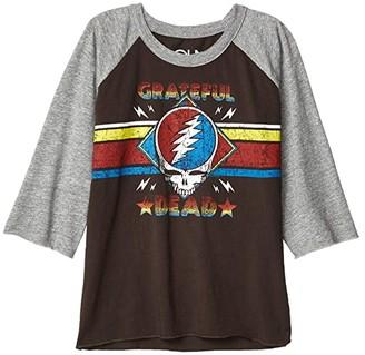 Chaser Grateful Dead Skull Stripes Baseball Raglan Tee (Little Kids/Big Kids) (Union Black/Streaky Grey) Girl's Clothing