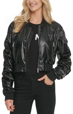 DKNY Cropped Bomber Jacket