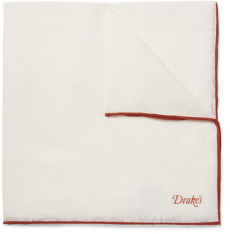 Drakes Contrast-Tipped Linen Pocket Square