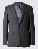Marks And Spencer Navy Textured Modern Tailored Suit Including Waistcoat
