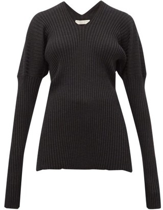 Bottega Veneta V-neck Ribbed Wool Sweater - Dark Grey