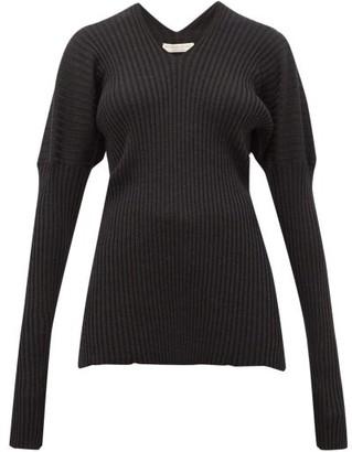 Bottega Veneta V-neck Ribbed Wool Sweater - Womens - Dark Grey