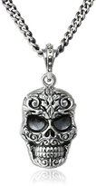 King Baby Studio Carved Baroque Skull Fine Curb Link Chain Pendant Necklace