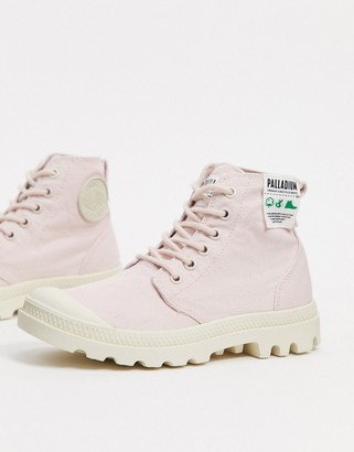 Palladium Pampa Hi organic cotton lace-up ankle boots in pink