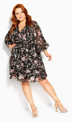 City Chic Imperial Bloom Dress - black
